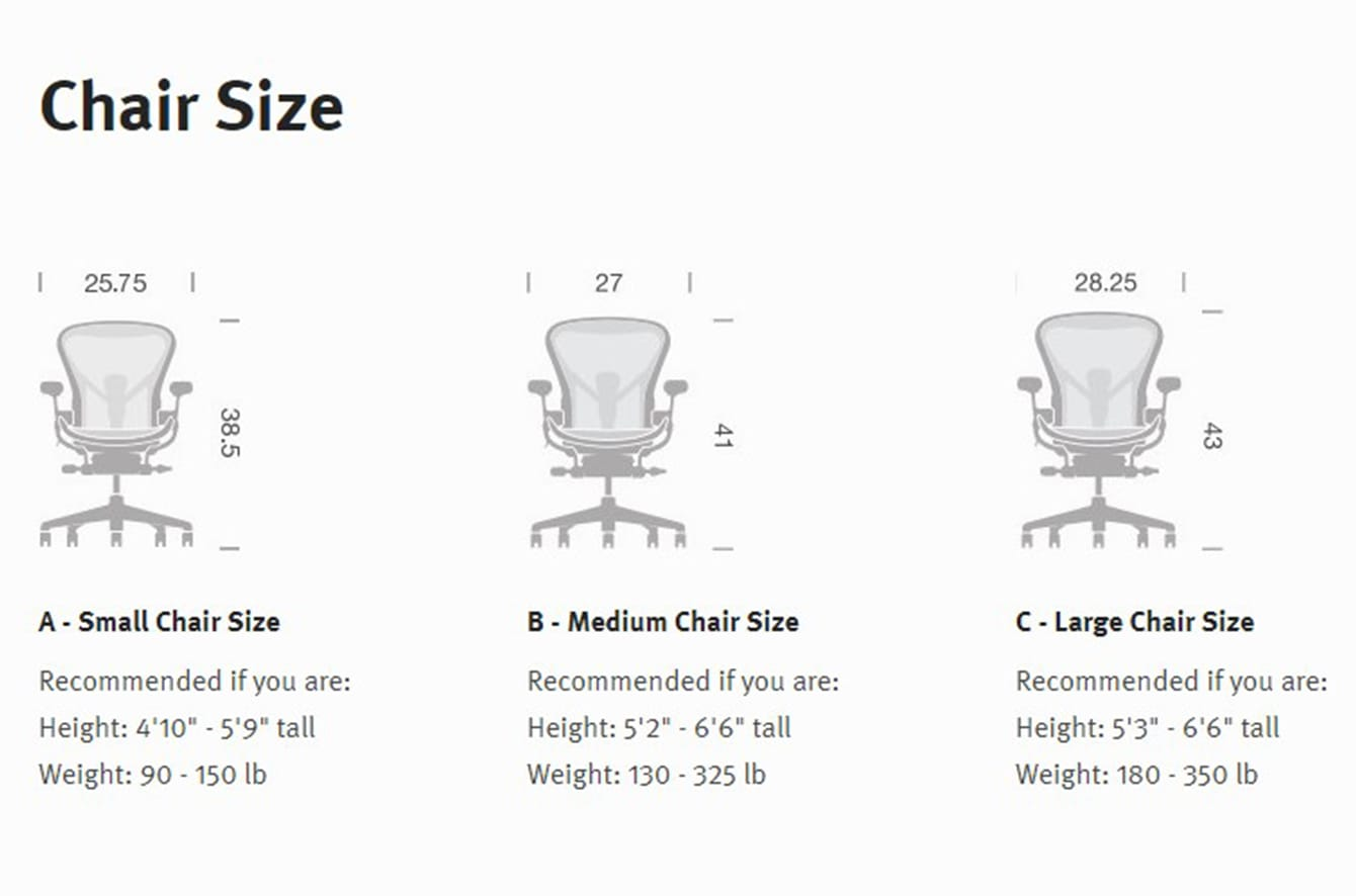 aeron collection chair size - Aeron Chair Sizes