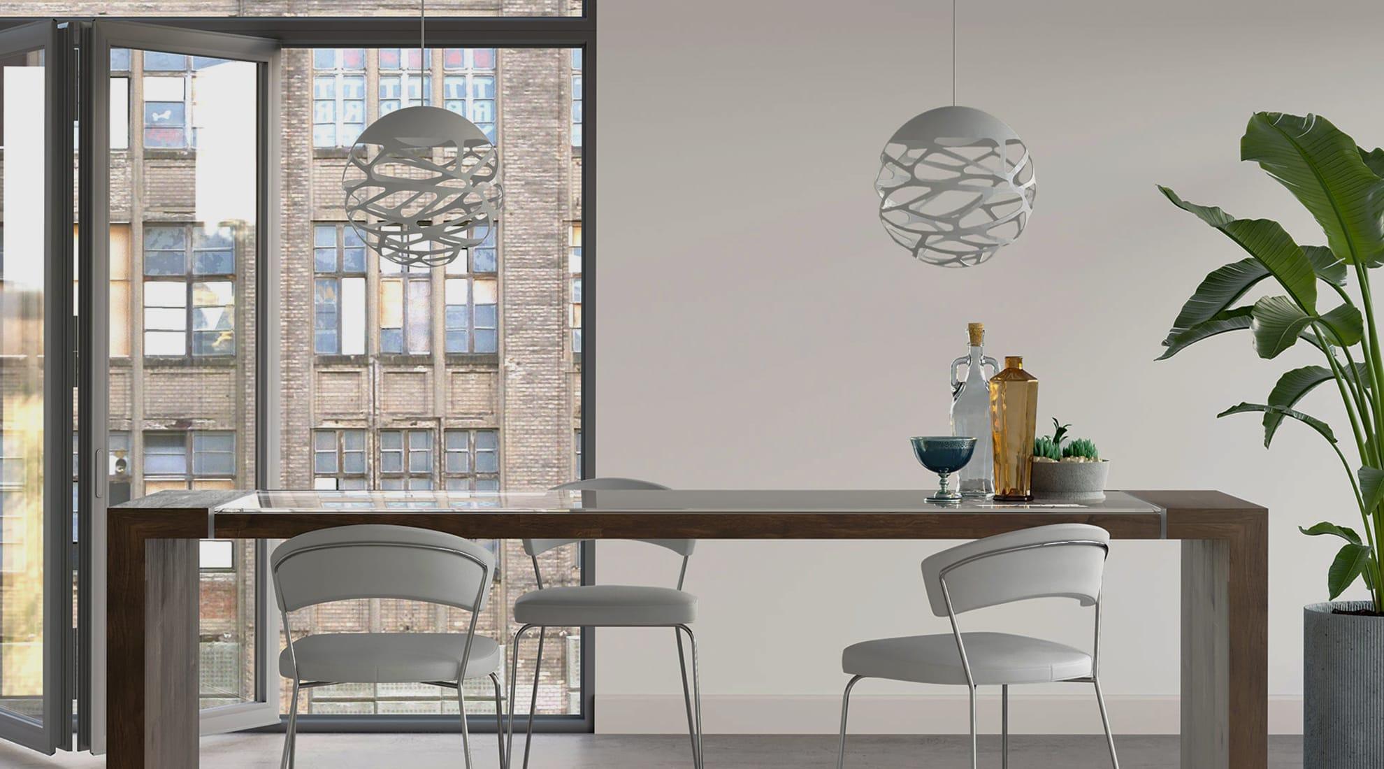 Delancey Stool by Modloft and Kelly Sphere Pendant by Studio Italia Design