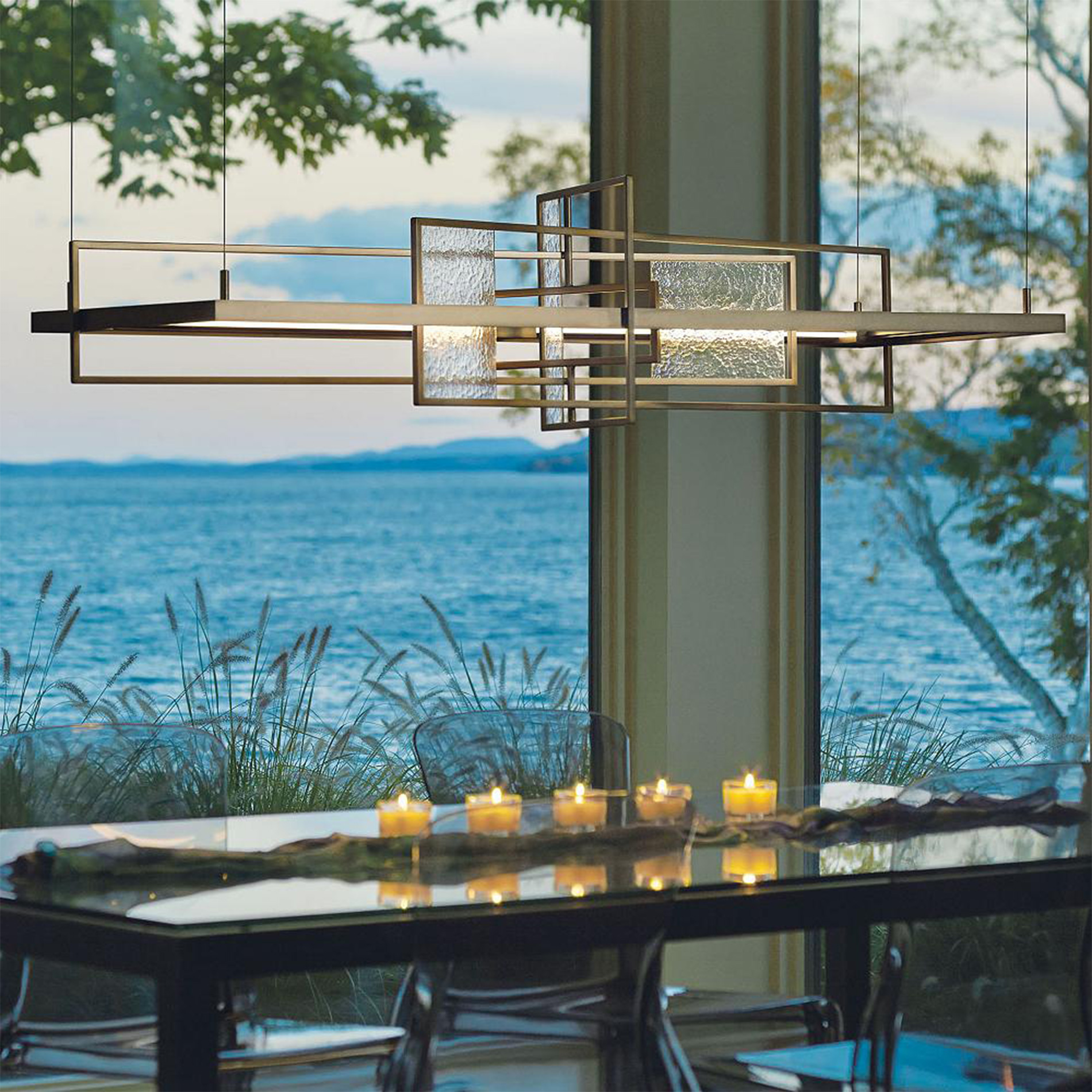 summer led linear suspension by hubbardton forge - Linear Dining Room Light Fixtures