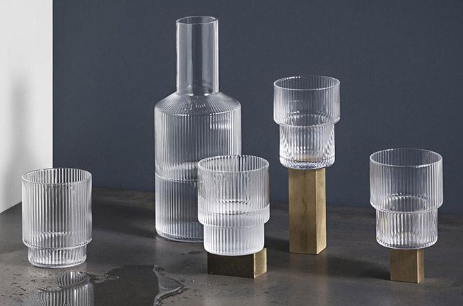 Ripple Carafe and Glass Set by Ferm Living