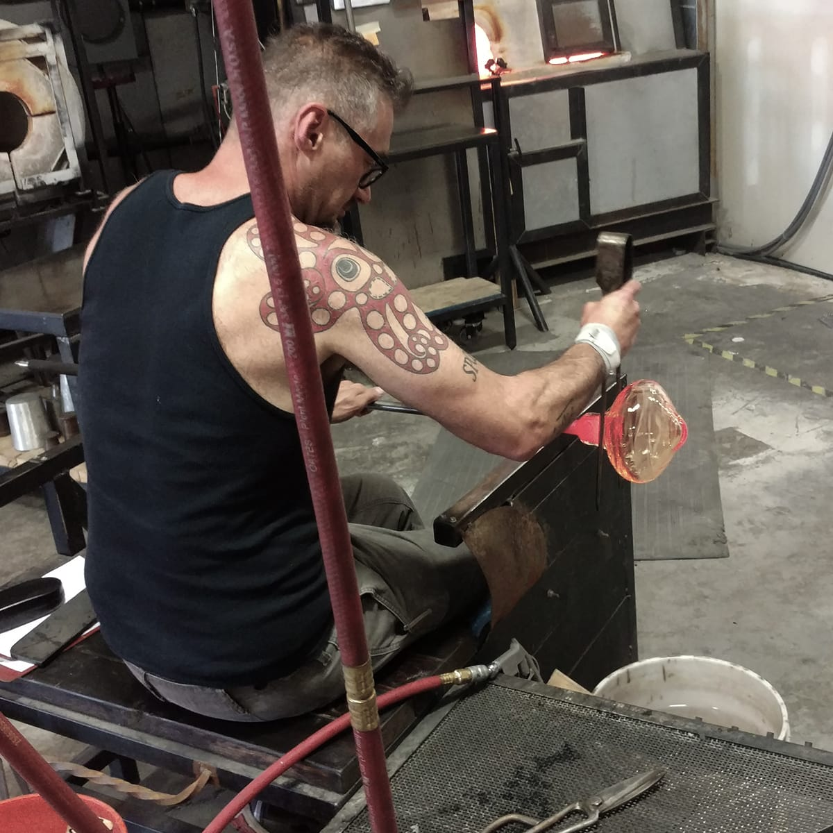 Hammerton Studio glassblowing artisan at work in the Salt Lake City studio.