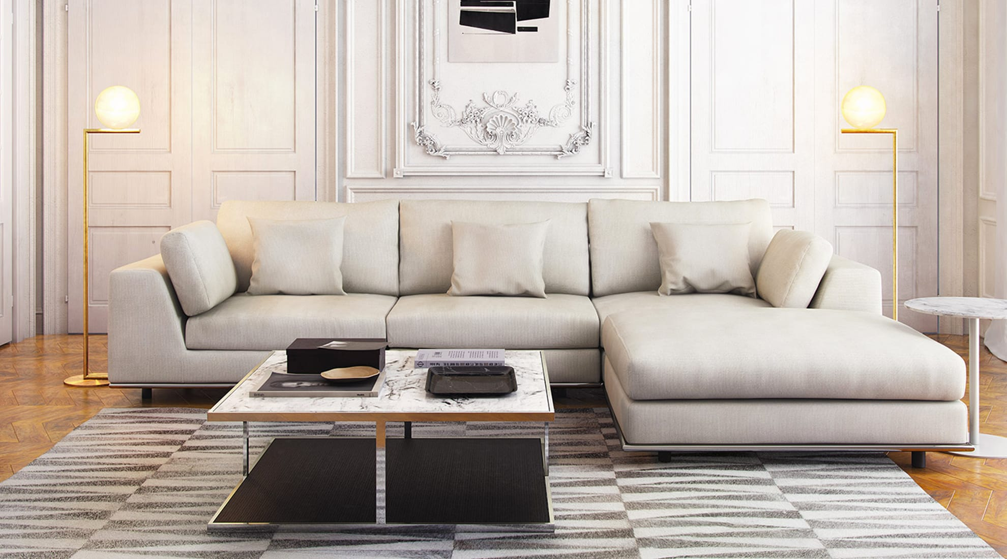 Perry Three Seat Sofa with Ottoman by Modloft and IC Floor Lamp by FLOS