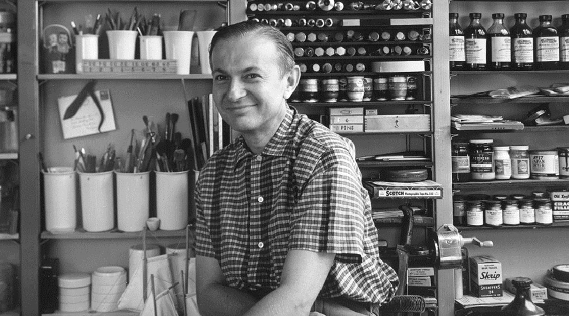 Alexander Girard circa 1950s in his Grosse Pointe studio.