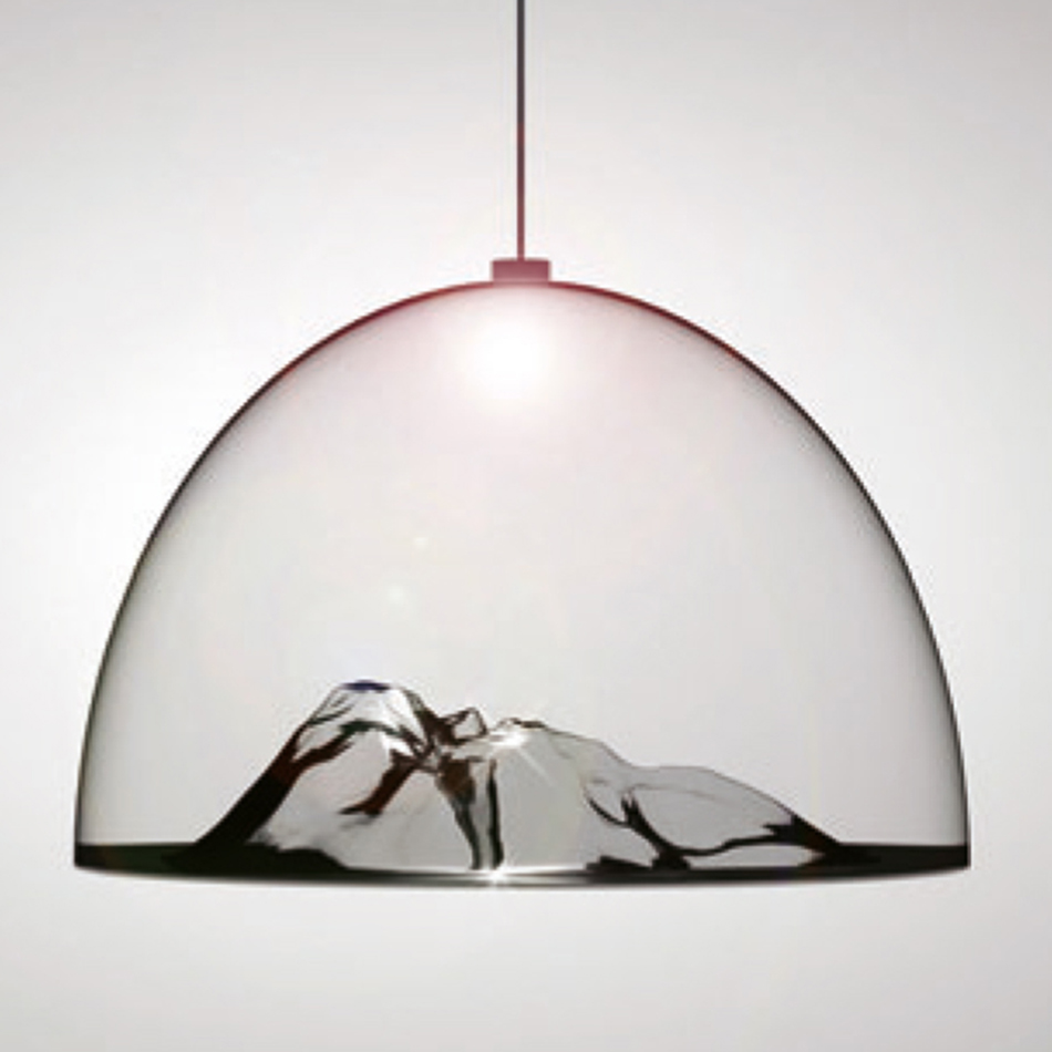 Early 3D Rendering of Mountain light pendant
