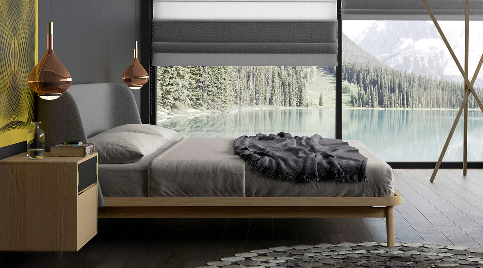 Haru Bed by Modloft and Sky Fall LED Pendant by Studio Italia Design