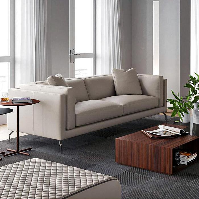 Reade Leather Sofa by Modloft Black.