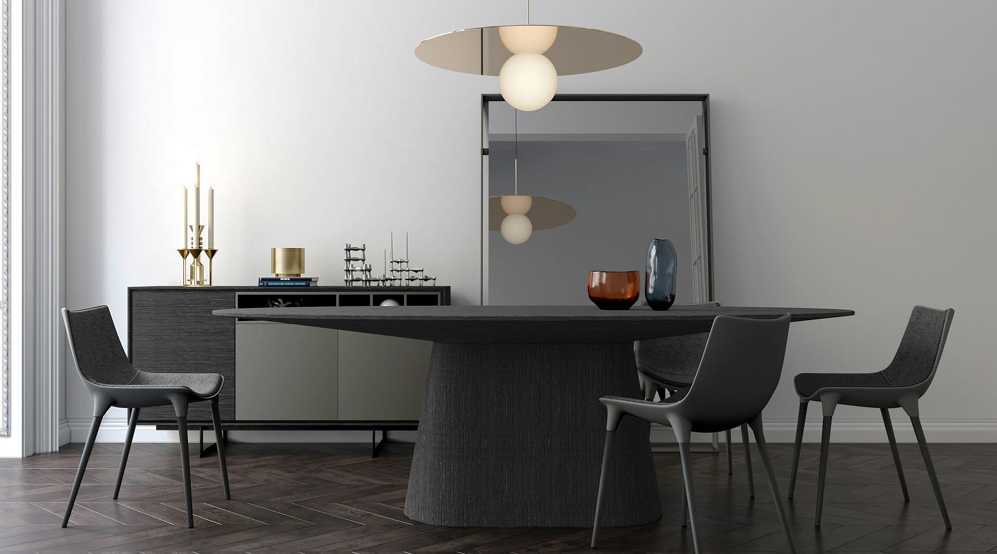 Sullivan Dining Table by Modloft and Bola Disc Pendant by Pablo Designs