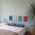 The guest room downstairs was a cool, Miami-esque space also from Samuel Amoia.