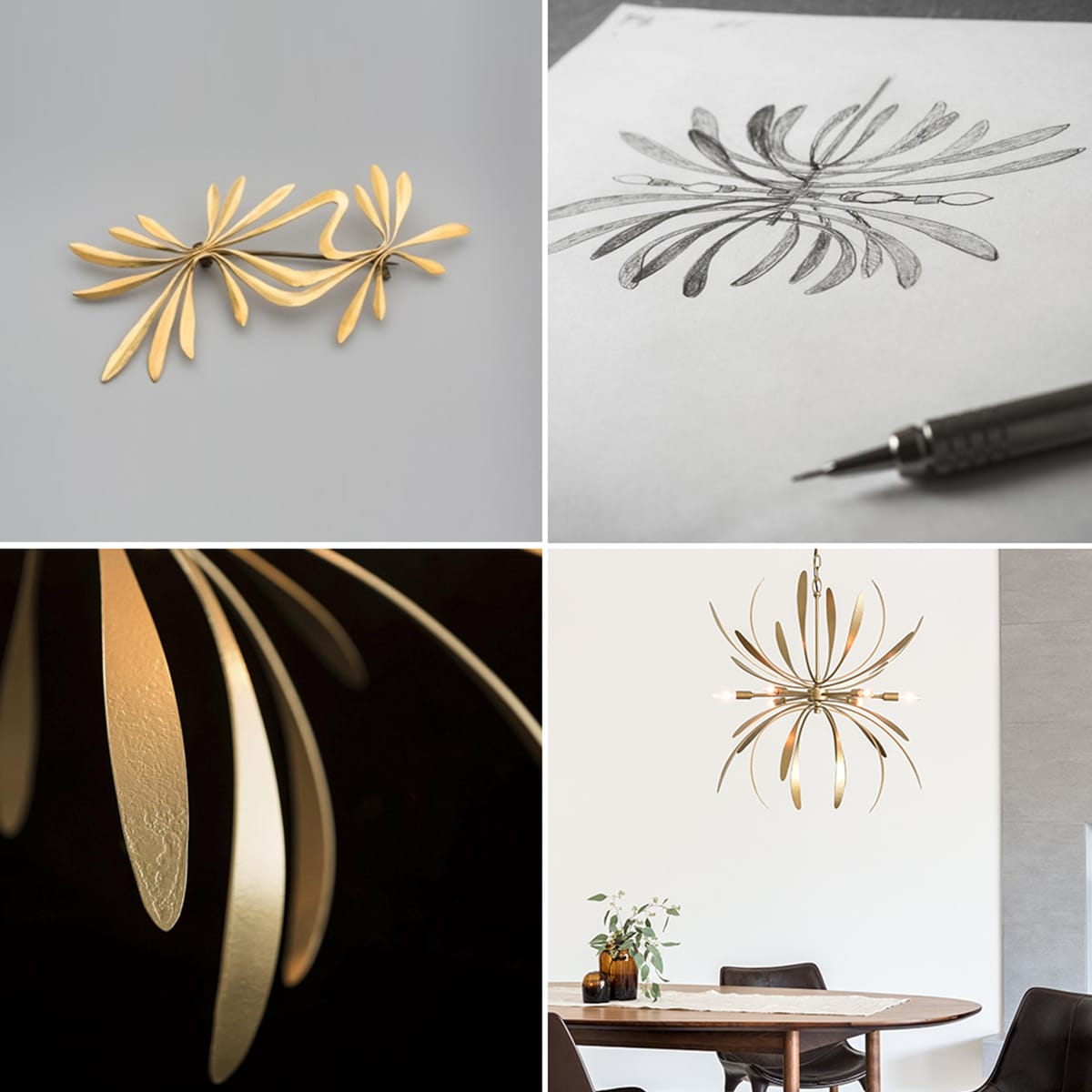 The Dahlia, from inspiration to conception to final design. Designer Paul Marr-Hilliard was inspired by a piece of forged jewelry created by Harry Bertoia.