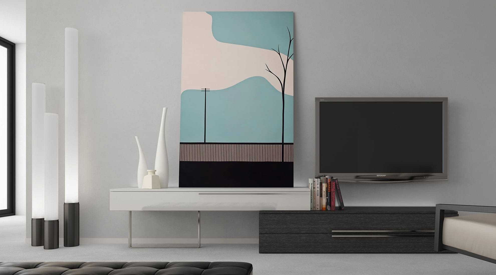 Gramercy Media Console by Modloft and Elise Floor Lamp by Pablo Designs