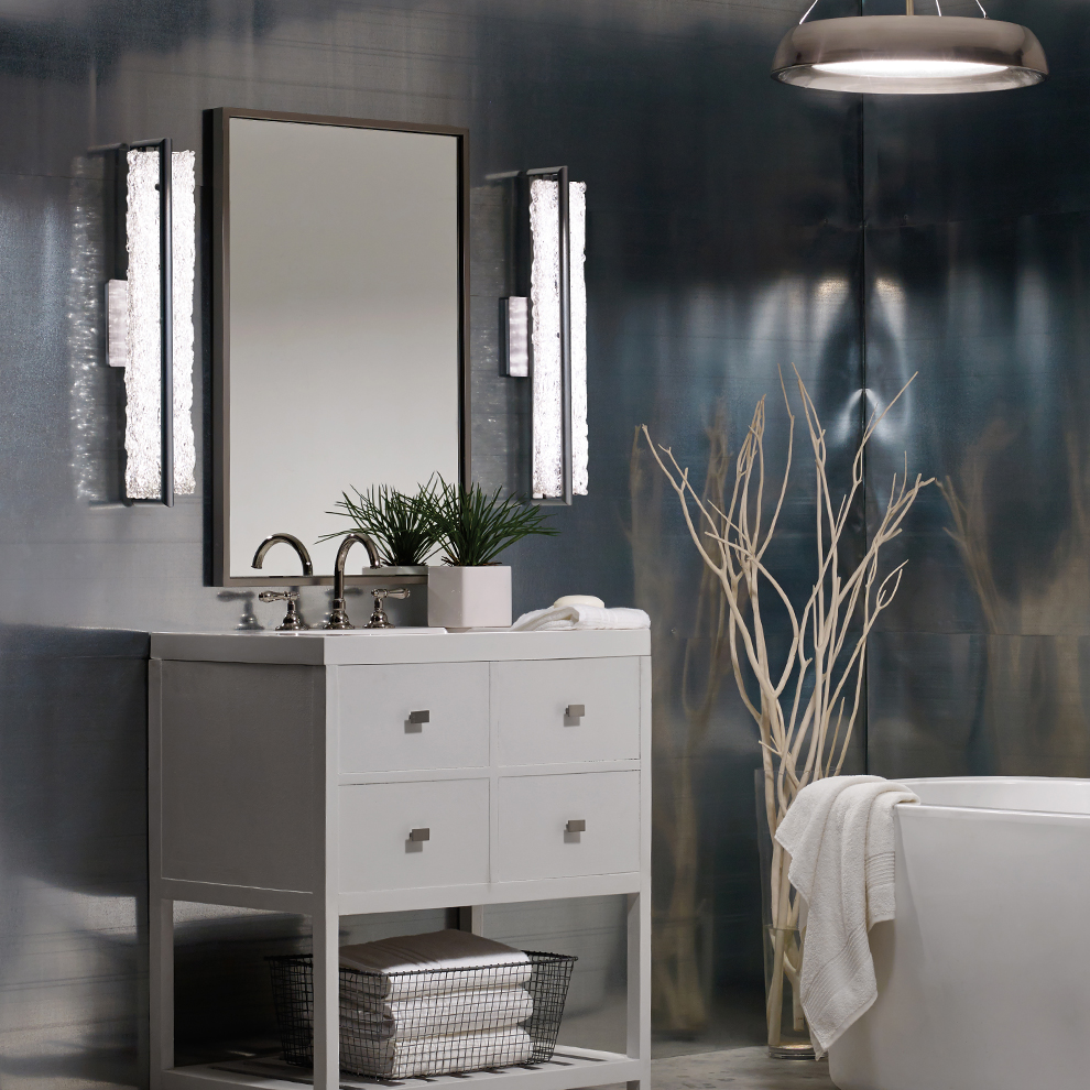 Vetri LED Bath Bar and Soleil LED Pendant by Modern Forms