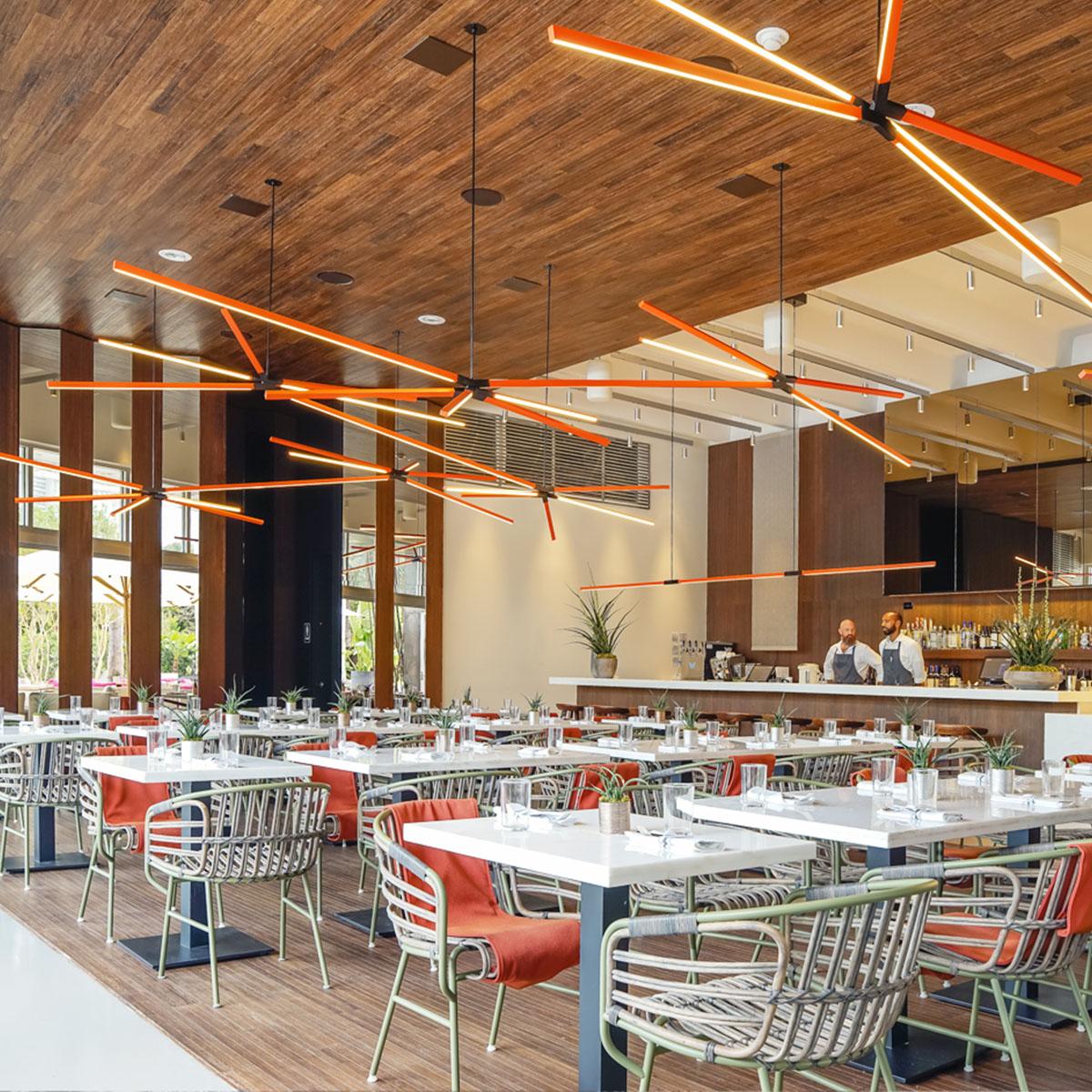 Custom Stickbulb Sky Bang installation in collaboration with Architect, Rene Gonzalez.