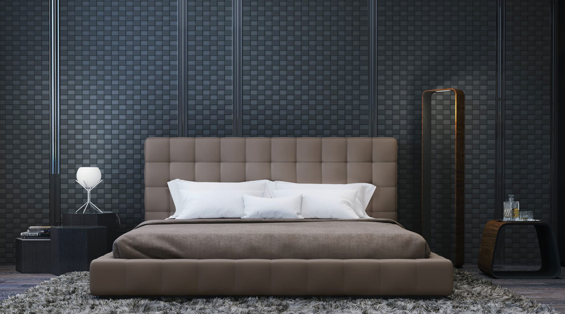 Thompson Bed by Modloft and Contour LED Floor Lamp by Pablo Designs