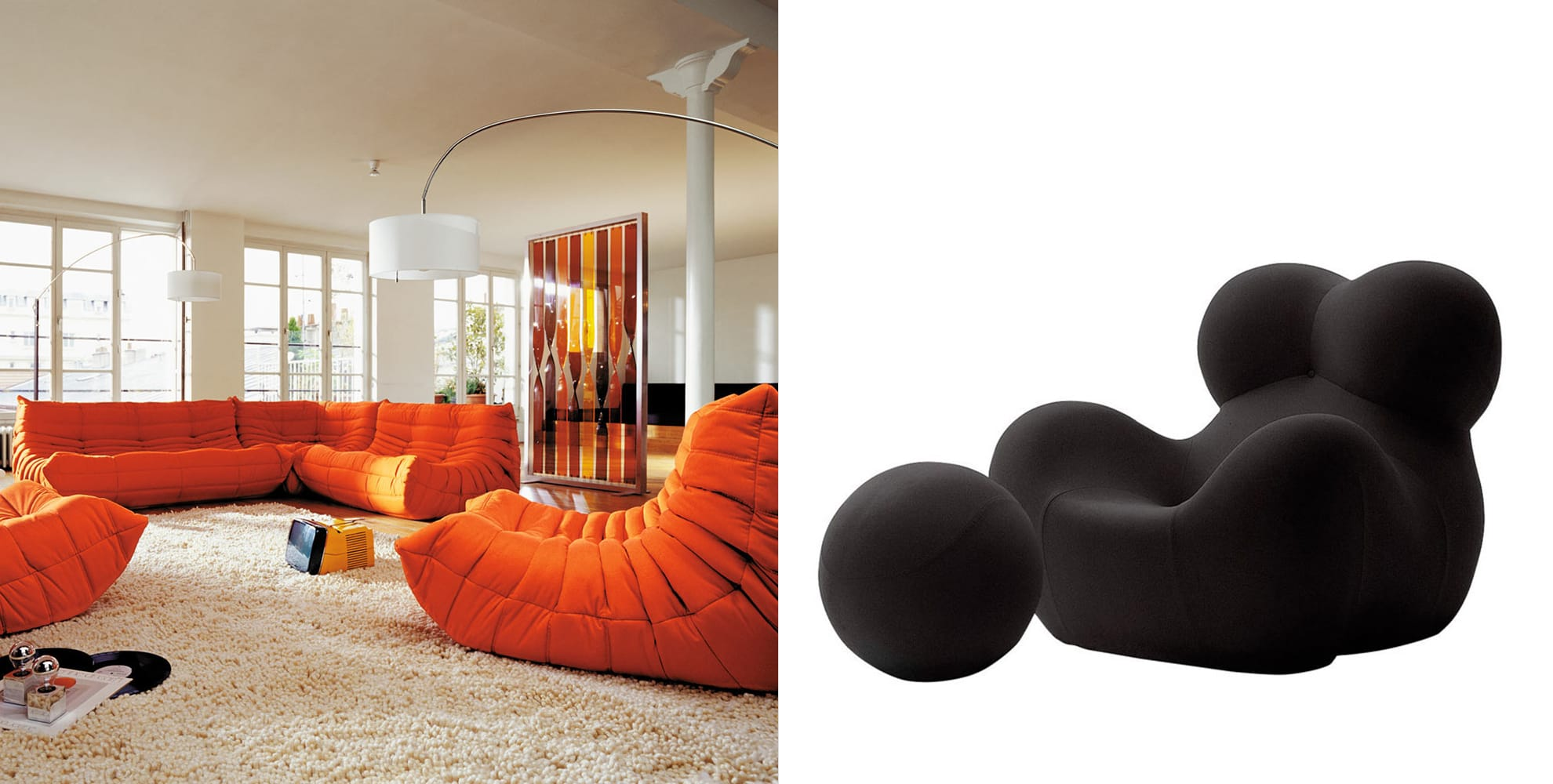 Togo Sofas by Ligne Roset, Up 5 Lounge Chair by Gaetano Pesce.