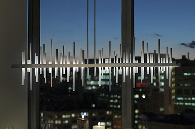 Cityscape Large LED Linear Suspension by Hubbardton Forge.