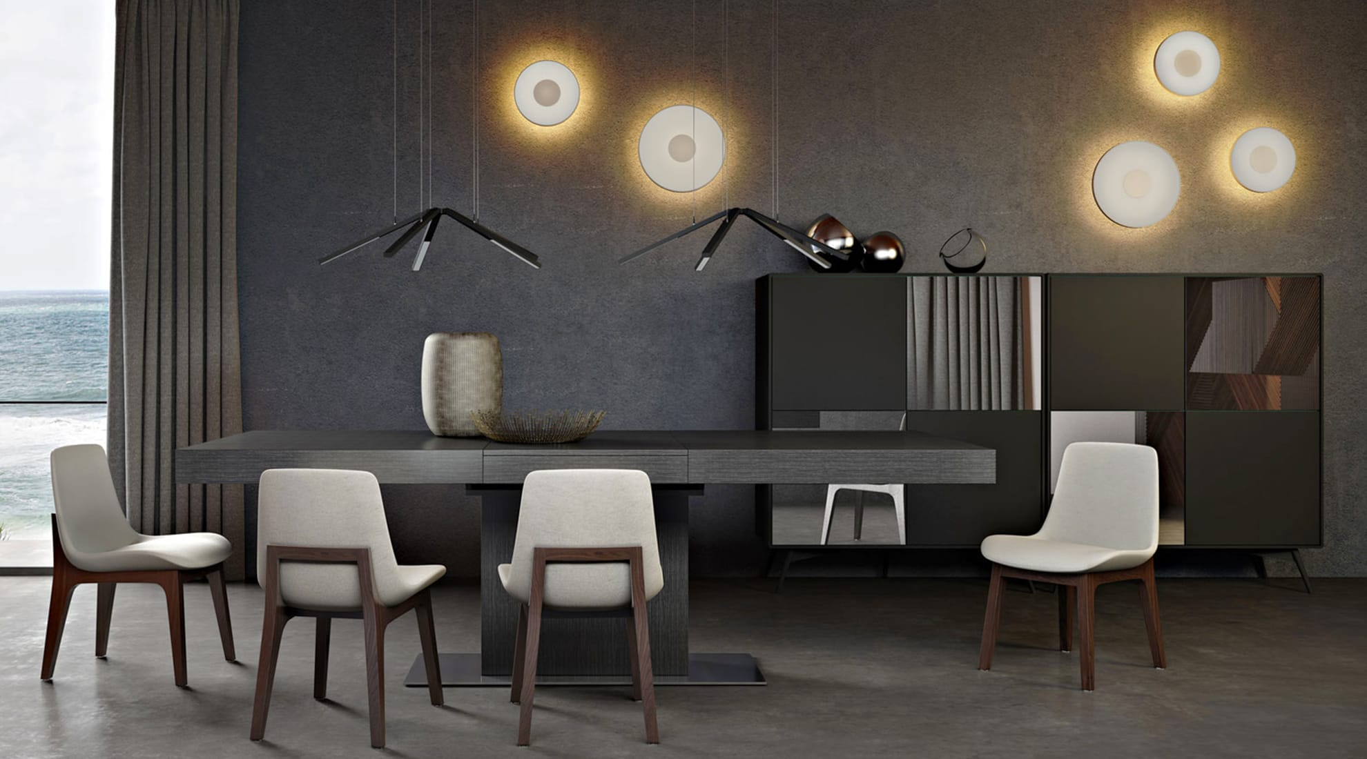 Astor Dining Table by Modloft and Thor Light by Studio Italia Design