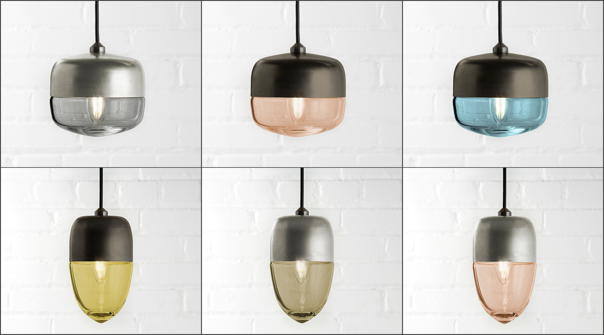 Carina and Vela Pendants available in 6 glass colors