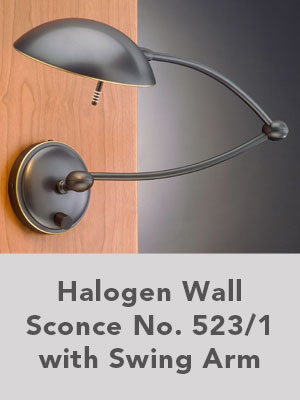Halogen Wall Sconce No. 523/1 with Swing Arm