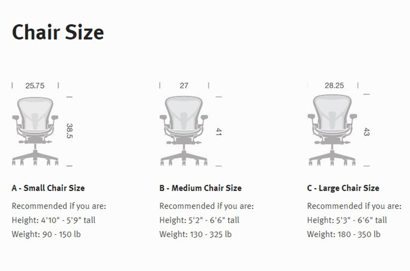 Aeron Collection Chair Size
