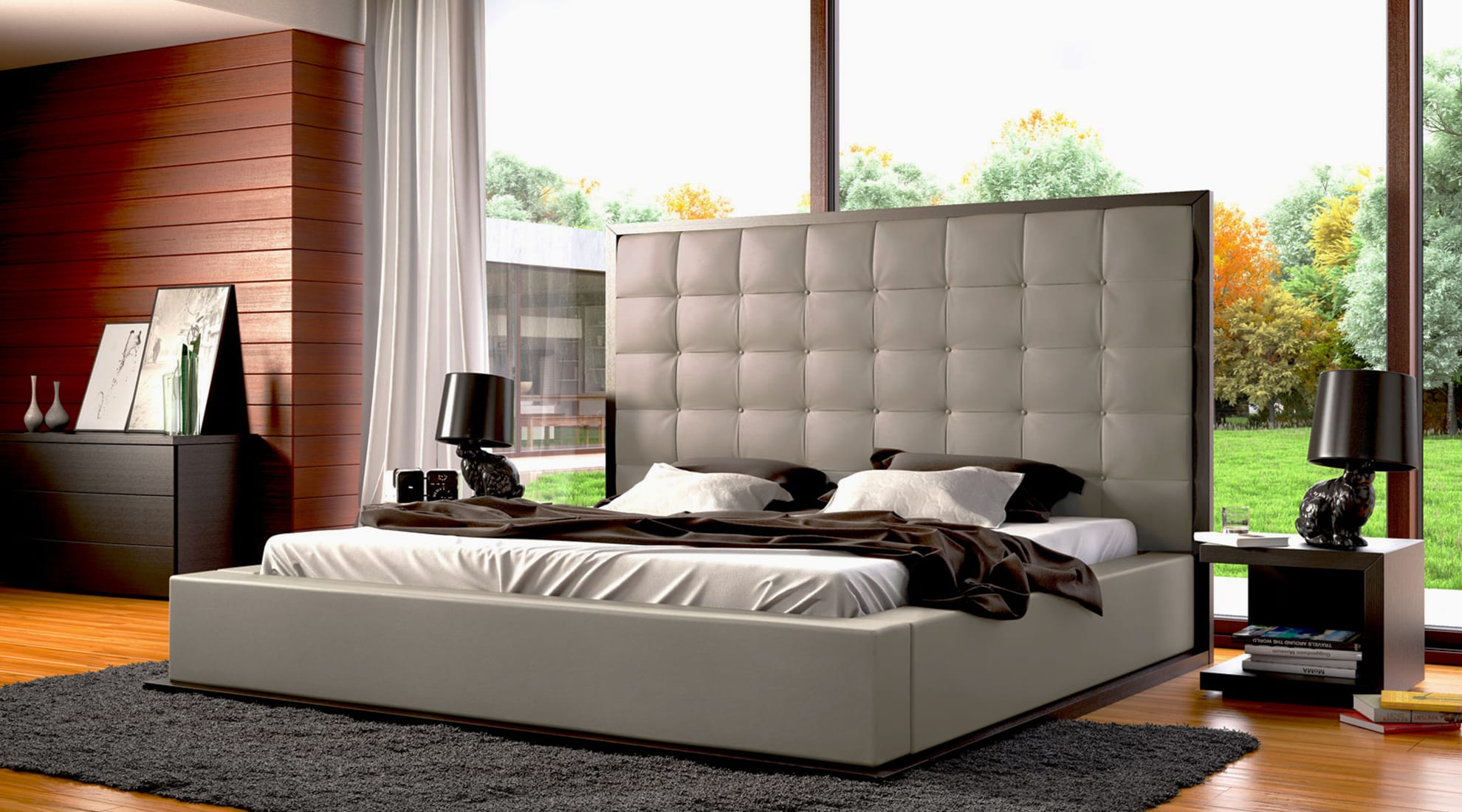 Ludlow Bed by Modloft and Rabbit Table Lamp by Moooi
