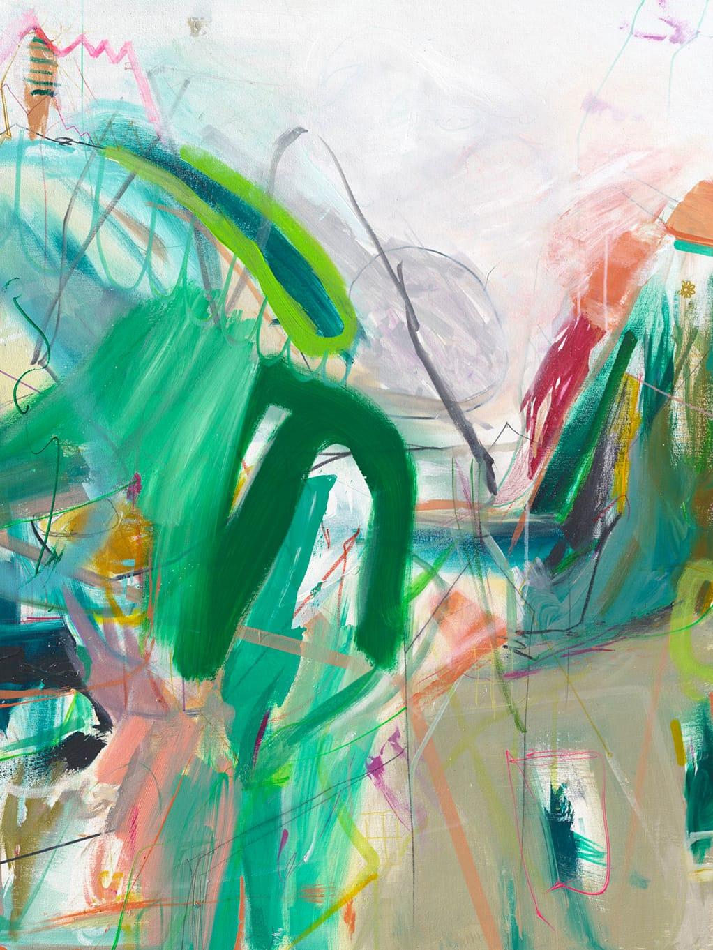Märchenland (Fairy[tale] land) by Jamie Derringer, 2015. Acrylic, spray enamel, marker, pencil and fabric paint on canvas.