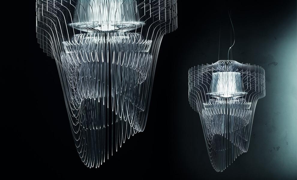 Zaha Hadid's Aria Transparent LED Pendant for Slamp.