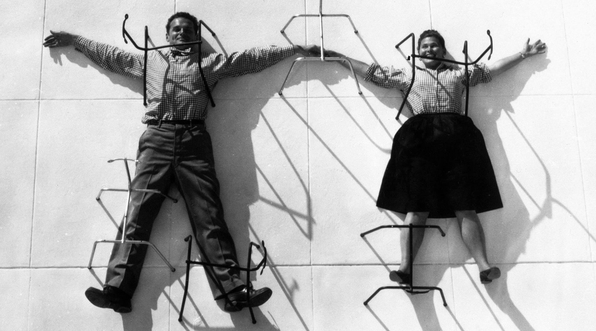 Charles & Ray Eames in 1947 under chair bases.