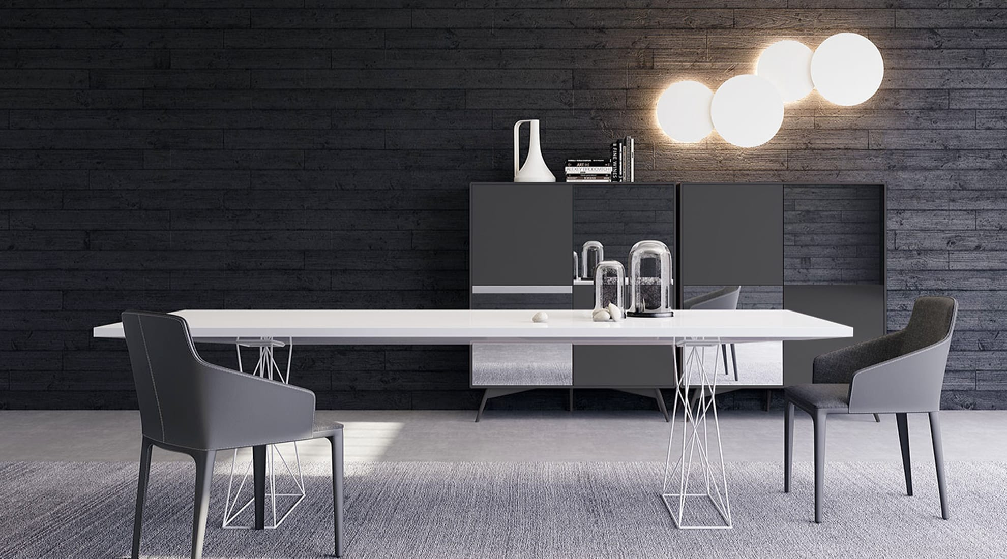 Curzon Dining Table by Modloft and Puck 2-Light Combo by Vibia